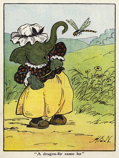 """""""A dragon-fly came by."""" Illustration for Jumbo's Jolly Tales by Harry B Neilson (Blackie, nd)."""