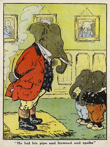 """""""He hid his pipe and frowned and spoke."""" Illustration for Jumbo's Jolly Tales by Harry B Neilson (Blackie, nd)."""
