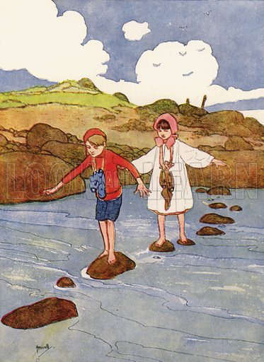 """""""We had hard work to balance ourselves on those stones."""" Illustration for Our Diary of Teddy and Me illustrated by John Hassall (Thomas Nelson, c 1940).  Poorly printed, only suitable for repro at small size."""