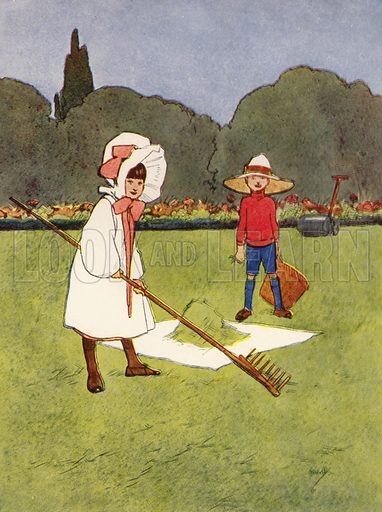 """""""We worked hard on the lawn."""" Illustration for Our Diary of Teddy and Me illustrated by John Hassall (Thomas Nelson, c 1940).  Poorly printed, only suitable for repro at small size."""