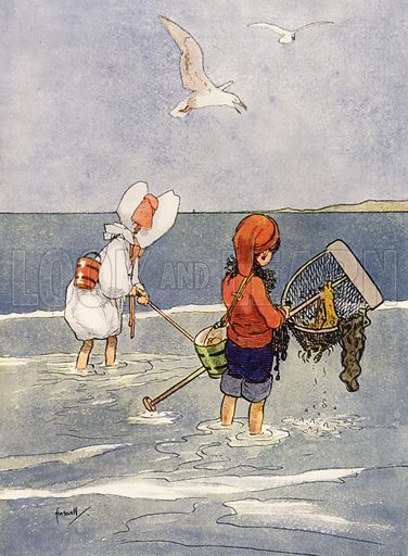 """""""Shrimping is good fun."""" Illustration for Our Diary of Teddy and Me illustrated by John Hassall (Thomas Nelson, c 1940).  Poorly printed, only suitable for repro at small size."""