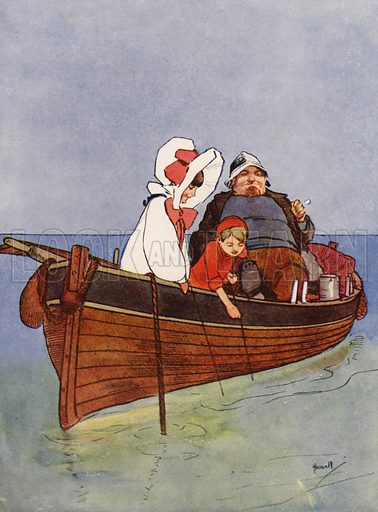 """""""We had a very good morning in Porkins's boat."""" Illustration for Our Diary of Teddy and Me illustrated by John Hassall (Thomas Nelson, c 1940).  Poorly printed, only suitable for repro at small size."""