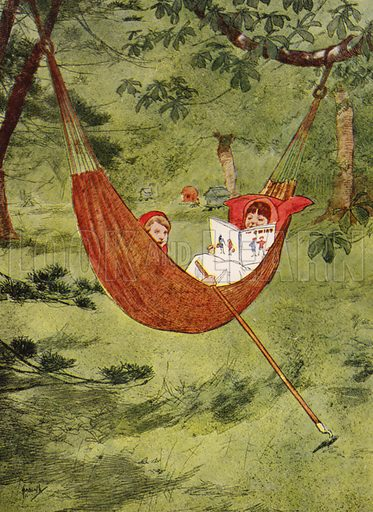 """""""We made believe that the hammock was a boat."""" Illustration for Our Diary of Teddy and Me illustrated by John Hassall (Thomas Nelson, c 1940).  Poorly printed, only suitable for repro at small size."""