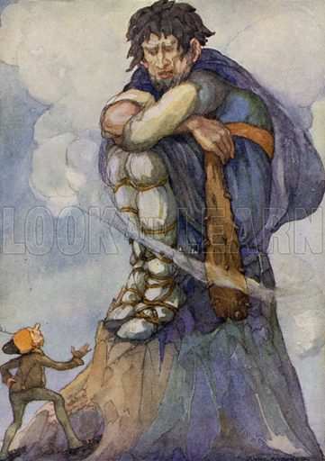 The Valiant Little Tailor. His road led him up a hill, and when he reached the highest point of it he found a great Giant sitting there. Illustration for The Wonder Gift Book for Children (Odhams, 1933).