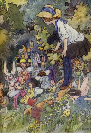 A Peep into the Land of Fairy Tales. Illustration for The Wonder Gift Book for Children (Odhams, 1933).