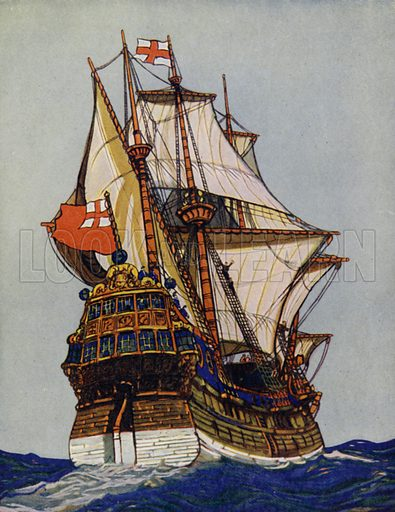 """Whither, O Splendid Ship, and what thy Quest?"" A gay adventurer rides on the sunlit waves. It was in ships such as this that the hardy pioneers of Tudor times sailed the unknown seas in search of treasure and new lands. Illustration for The Wonder Gift Book for Children (Odhams, 1933)."