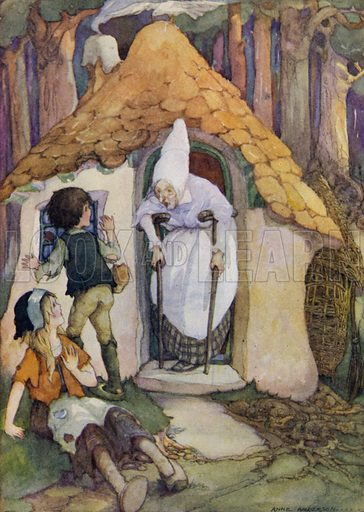 Hansel and Grethel. Just then the door opened, and a very old woman, walking upon crutches, came out. Illustration for The Wonder Gift Book for Children (Odhams, 1933).