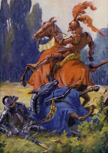 When Knights were Bold. Such encounters as this were common in the days of King Arthur and his Knights. Illustration for The Wonder Gift Book for Children (Odhams, 1933).