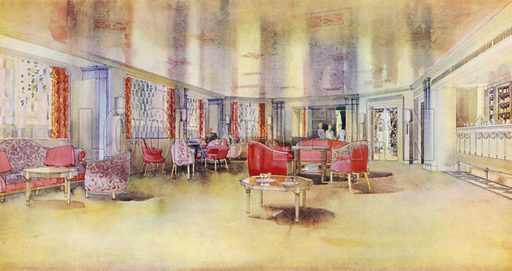 Dorchester Hotel, London, 1931: The Park Lounge, overlooking Hyde Park