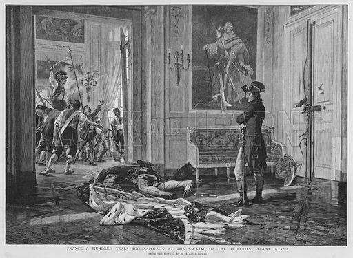 Napoleon at the sacking of the Palais des Tuileries, Paris, French Revolution, 1792. Illustration for Black & White magazine, 8 October 1892.