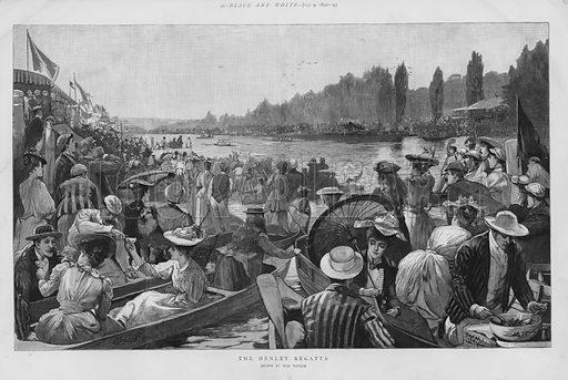 Henley Regatta, Henley-on-Thames, Oxfordshire. Illustration for Black & White magazine, 9 July 1892.