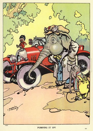 Elephant using his trunk to pump up a flat tyre on a car