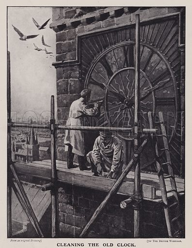 Workers cleaning a clock