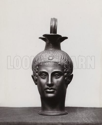 Wedgwood black basalt rhyton or lekythos, vessel for liquid in the form of a female head. Illustration from Choice Examples of Wedgwood Art (George Bell and Sons, London, 1879).