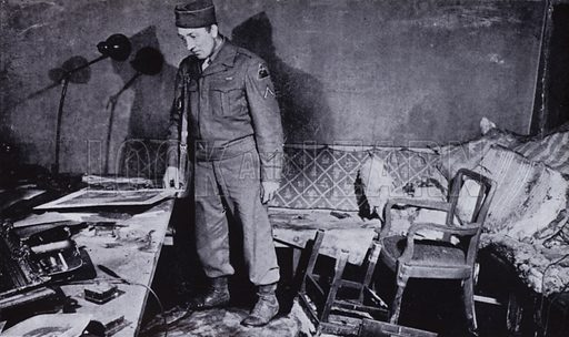 Room in Hitler's bunker beneath the garden of the Reich Chancellery in Berlin, where the Nazi leader and his wife Eva Braun probably committed suicide, World War II, 1945. Illustration from News in Our Time 1896–1946, Golden Jubilee Book of the Daily Mail (Associated Newspapers Ltd, London, 1946).