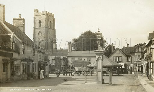 Market Place at Mildenhall, Suffolk. Postcard, early 20th century.