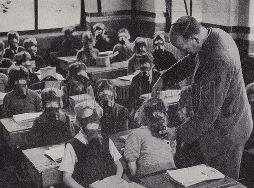 British schoolchildren practicing putting on their gas masks, World War II, 1939–1945