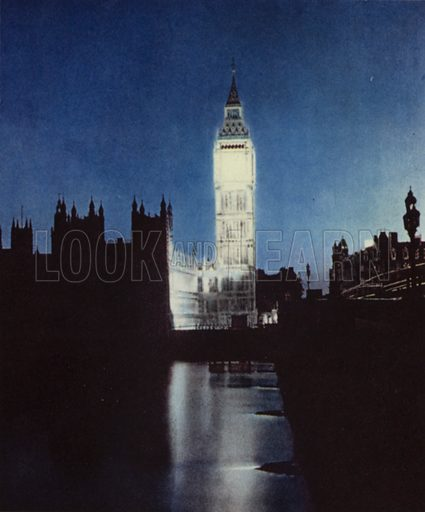 Big Ben, the clock tower of the Houses of Parliament in London floodlit on the night of VE Day, 8 May 1945, having …