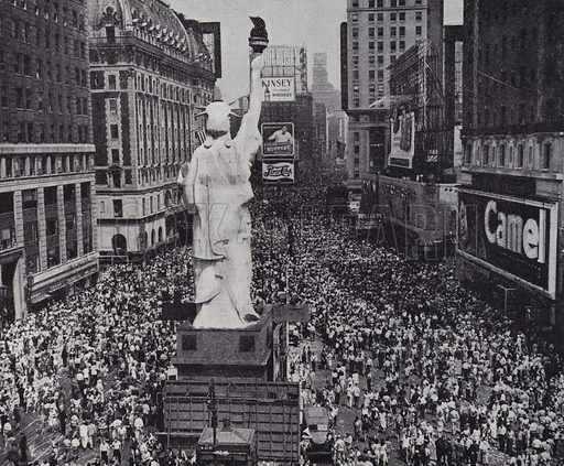 Crowds on Times Square, New York City celebrating the surrender of Japan to end World War II, August 1945. Illustration from The Second Great War, A Standard History, Volume Five (The Waverley Book Company Ltd in association with The Amalgamated Press Ltd, London, c1946).