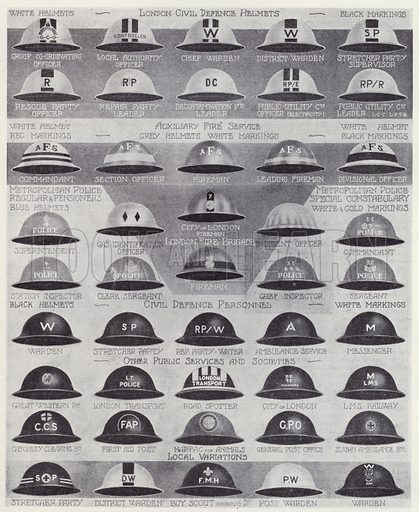 Steel helmets of Britain's civil defence organisations, World War II, 1940–1945. Illustration from The Second Great War, A Standard History, Volume Five (The Waverley Book Company Ltd in association with The Amalgamated Press Ltd, London, c1946).