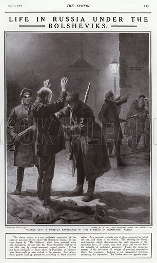 Life under Bolshevik rule in Russia: Red Guards searching a man out on the streets at night. Illustration from The Sphere, 24 May 1919.