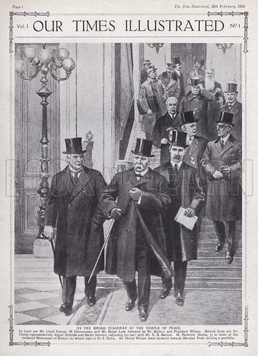Allied leaders and delegates at the Paris Peace Conference, Versailles, France, 1919. Illustration from Our Times Illustrated, 15 February 1919.