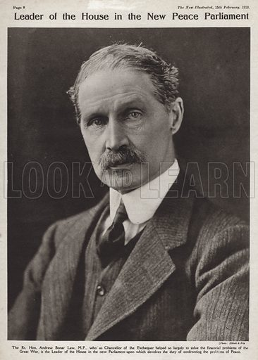 Andrew Bonar Law (1858–1923), British Conservative politician and Prime Minister. Illustration from Our Times Illustrated, 15 February 1919.