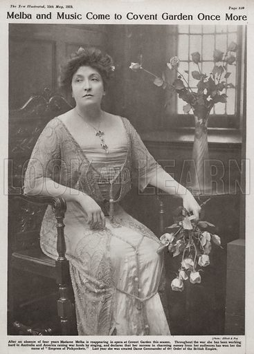 Dame Nellie Melba (1861–1931), Australian opera singer. Illustration from Our Times Illustrated, 10 May 1919.