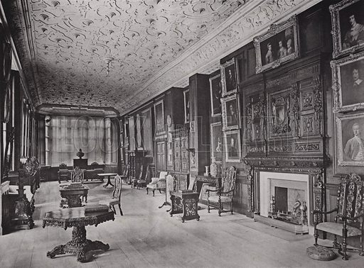 Charlton House, Wiltshire, The Long Gallery. Illustration for Architecture of the Renaissance in England by J Alfred Gotch (Batsford, 1894).  Gravure printed.