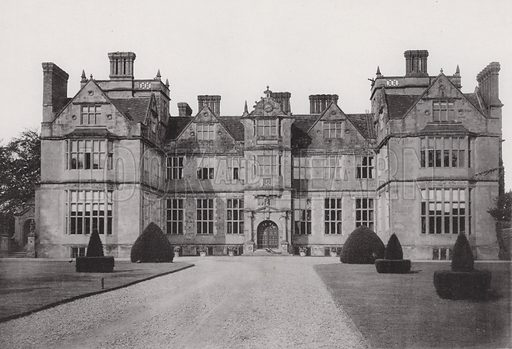 Condover Hall, The Entrance Front. Illustration for Architecture of the Renaissance in England by J Alfred Gotch (Batsford, 1894).  Gravure printed.