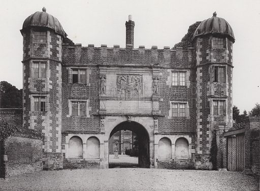 Burton Agnes Hall, The Gate House. Illustration for Architecture of the Renaissance in England by J Alfred Gotch (Batsford, 1894).  Gravure printed.