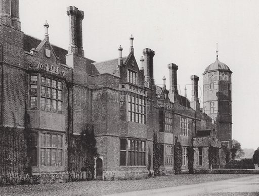 Cobham Hall, The North Front. Illustration for Architecture of the Renaissance in England by J Alfred Gotch (Batsford, 1894).  Gravure printed.