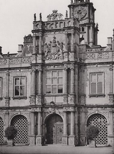 Hatfield House, The South Entrance. Illustration for Architecture of the Renaissance in England by J Alfred Gotch (Batsford, 1894).  Gravure printed.