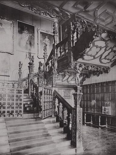 Hatfield House, The Principal Staircase. Illustration for Architecture of the Renaissance in England by J Alfred Gotch (Batsford, 1894).  Gravure printed.