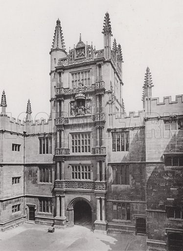 Oxford, Entrance in the Court of the Schools, Now the Bodleian Library. Illustration for Architecture of the Renaissance in England by J Alfred Gotch (Batsford, 1894). Gravure printed.