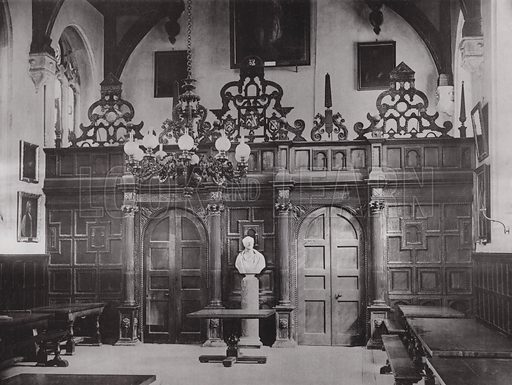 Oxford, Screen in the Hall at Wadham College. Illustration for Architecture of the Renaissance in England by J Alfred Gotch (Batsford, 1894).  Gravure printed.