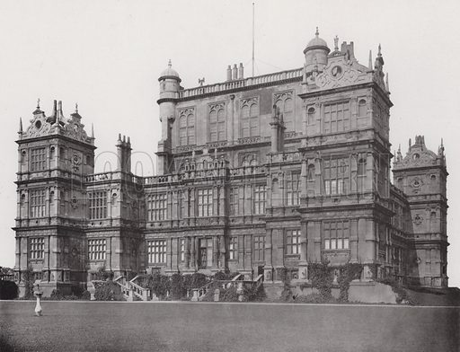 Wollaton Hall, The South Front. Illustration for Architecture of the Renaissance in England by J Alfred Gotch (Batsford, 1894).  Gravure printed.