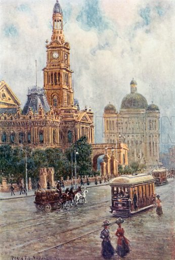 The Town Hall, Sydney. Illustration for Australia by Frank Fox (A&C Black, 1912).