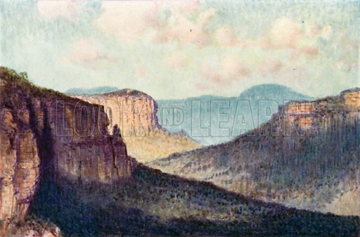 The barrier of the Blue Mountains. Illustration for Australia by Frank Fox (A&C Black, 1912).