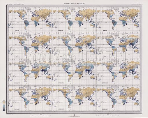 Isohyets, World. Illustration for Atlas of Meteorology, Volume III of Bartholomew's Physical Atlas, prepared by J G Bartholomew and A J Herbertson (The Royal Geographical Society, 1899).  A set of maps that give a perspective of global weather at the end of the nineteenth century.