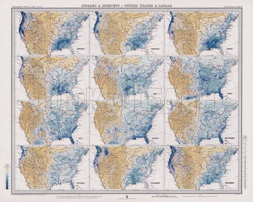 Isobars and Isohyets, United States and Canada. Illustration for Atlas of Meteorology, Volume III of Bartholomew's Physical Atlas, prepared by J G Bartholomew and A J Herbertson (The Royal Geographical Society, 1899).  A set of maps that give a perspective of global weather at the end of the nineteenth century.