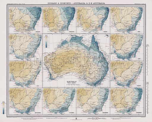Isobars and Isohyets, Australia and South East Australia. Illustration for Atlas of Meteorology, Volume III of Bartholomew's Physical Atlas, prepared by J G Bartholomew and A J Herbertson (The Royal Geographical Society, 1899).  A set of maps that give a perspective of global weather at the end of the nineteenth century.