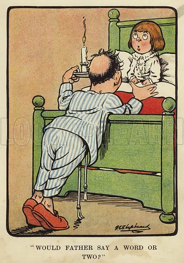 """""""Would father say a word or two?"""" Illustration for Bubbles in Birdland by Harold Simpson illustrated by G E Shepheard (Greening, 1908)."""