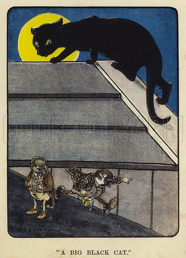 """""""A big black cat."""" Illustration for Bubbles in Birdland by Harold Simpson illustrated by G E Shepheard (Greening, 1908)."""