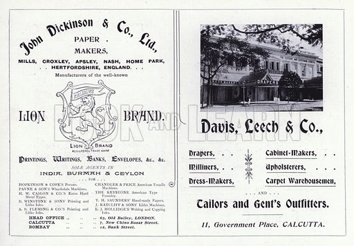 Advertisments, c 1900. Illustration for Calcutta Illustrated (Thacker, Spink, c 1900).