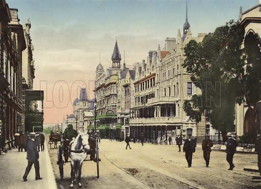 Adderley Street, looking down. Illustration for Cape Town and Suburbs (P Schaefer & Co, Cape Town, c 1895).