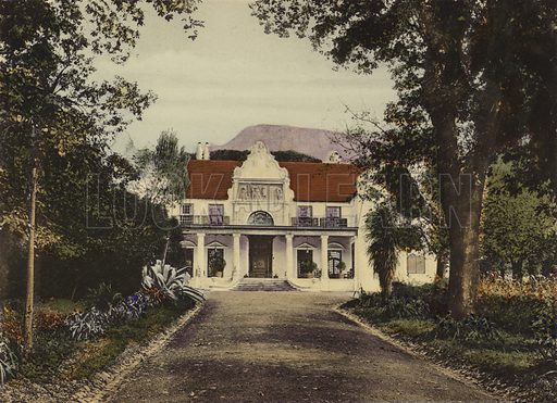 Groot Schuur, Rondebosch. Illustration for Cape Town and Suburbs (P Schaefer & Co, Cape Town, c 1895).