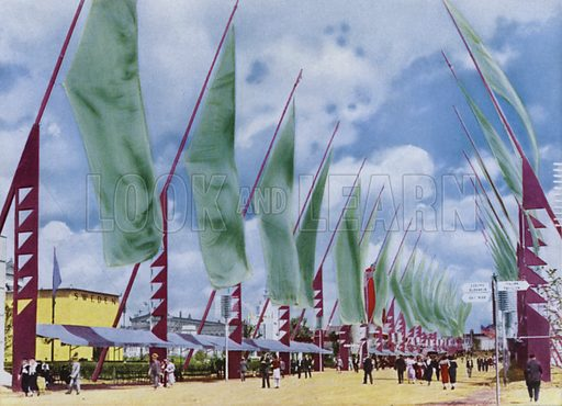The Avenue of Flags. Illustration for A Century of Progress Exposition, Chicago, Official Pictures in Color (1934).  Photographs by Kaufmann & Fabry Co.