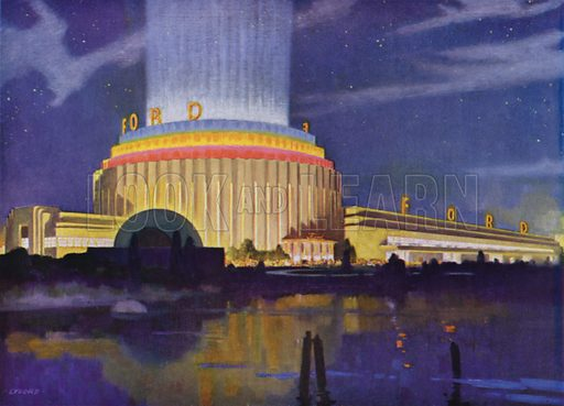 The Ford Motor Company's Building. Illustration for A Century of Progress Exposition, Chicago, Official Pictures in Color (1934).  Photographs by Kaufmann & Fabry Co.