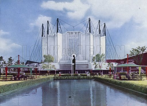 The Travel and Transport Building. Illustration for A Century of Progress Exposition, Chicago, Official Pictures in Color (1934).  Photographs by Kaufmann & Fabry Co.